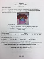 Field Day Shirt Order Form
