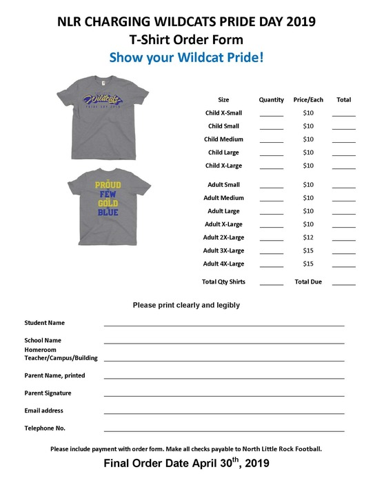 Pride Day shirt order form