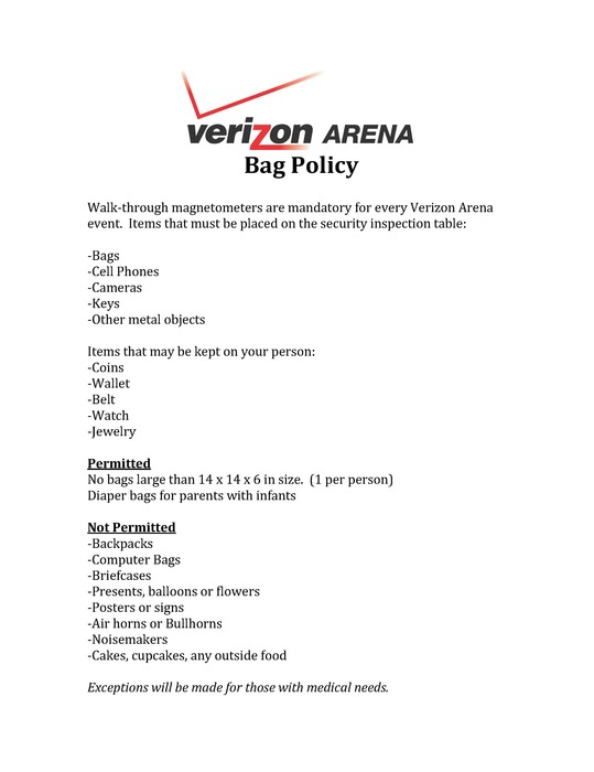 Verizon Bag Policy