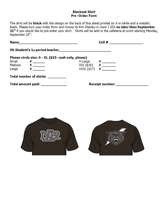 Blackout tee order form