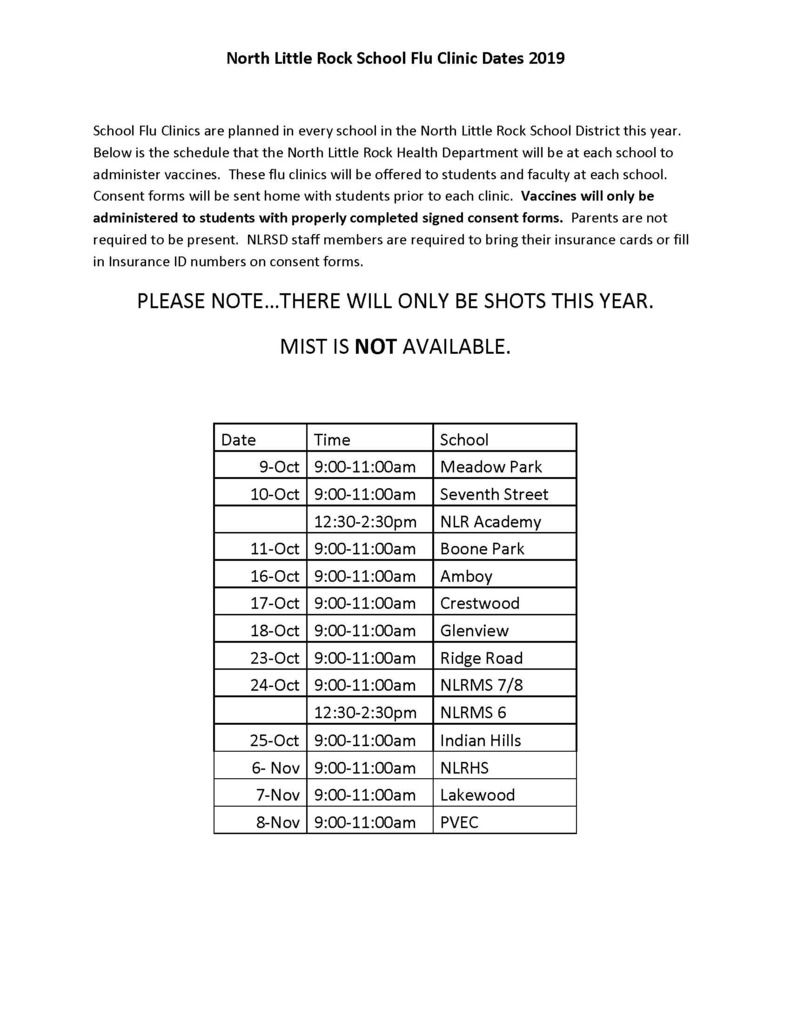 Flu Clinic Dates