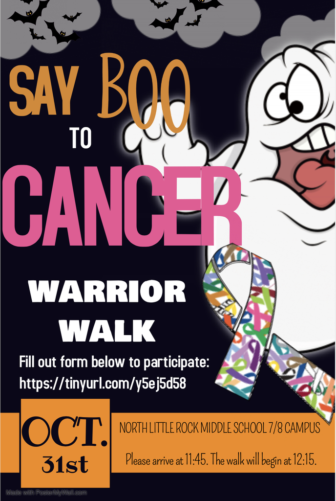 Say Boo to Cancer Warrior Walk- Oct. 31 at NLRMS 7th/8th grade campus from 11:45-12:30
