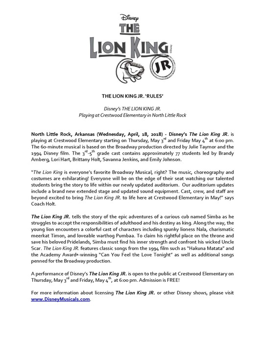 Lion King Press Release