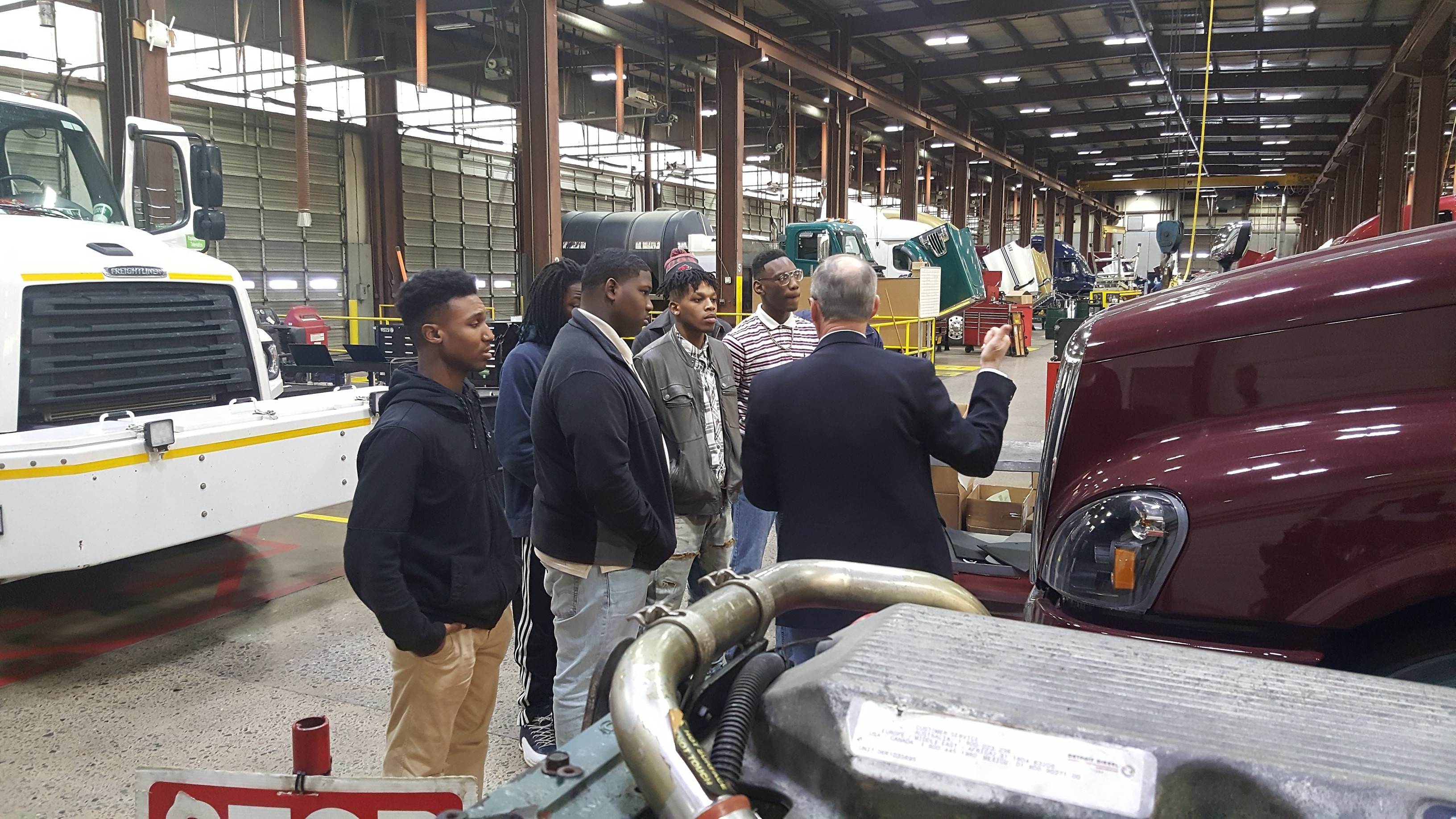 Academy students touring Trucking Center of Arkansas